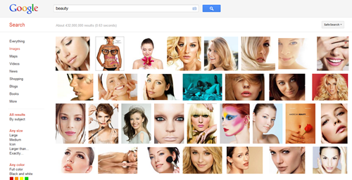 "This is what you get when you do a Google Image search of ""Beauty""... pretty telling."