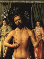 Another disturbingly motherly portrait of Jesus, this time explicitly offering us his breast as nourishment.
