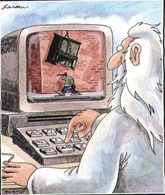 "Classic Far Side: ""God at his computer"""