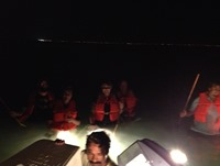 Our Crabbing Crew emerging from the darkness