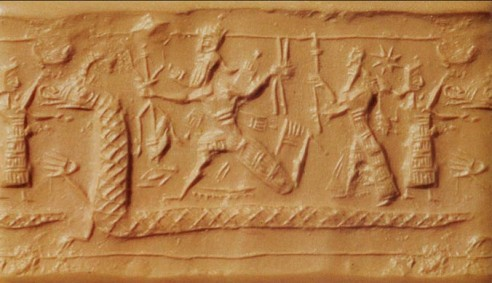 Marduk defeating Tiamat, pictured as a large serpent. From a Babylonian Seal on display at the British Museum