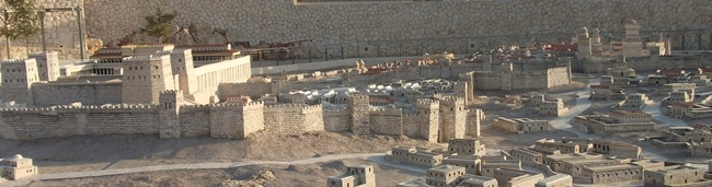 This picture is of the reconstruction of Jerusalem circa 66 CE that's at the Israel Musem in Jerusalem. It's 1:50 scale.