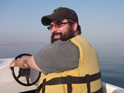 Just me, sailing on the Sea of Galilee, just like Peter and Jesus used to do. Except for the motor.