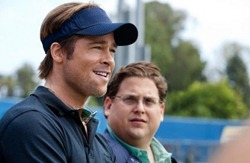 Moneyball - Brad Pitt as Billy Beane and Jonah Hill as Peter Brand