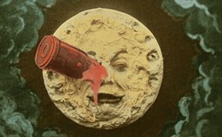 A famous image from Georges Melies' most famous film, in color because he colored each frame by hand!